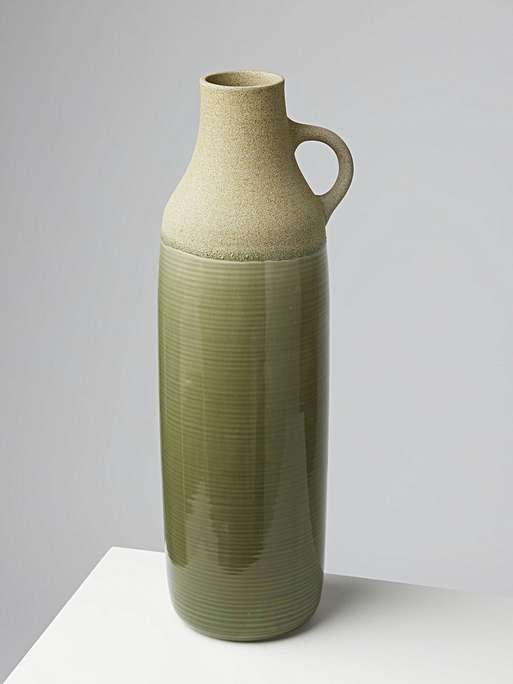 olive green earthenware vase