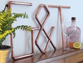 copper g&t bar sign home