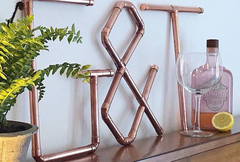 copper g&t bar sign home