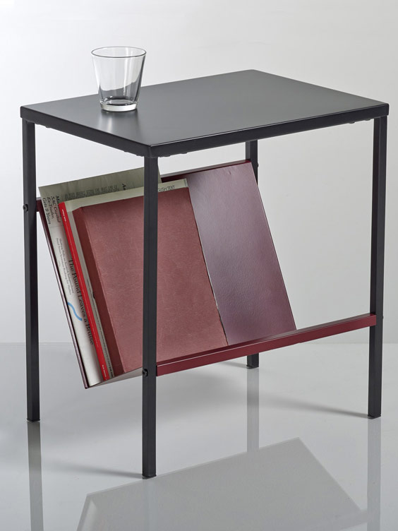 black magazine rack side table