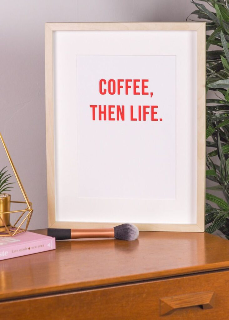 coffee then life rock on ruby art print