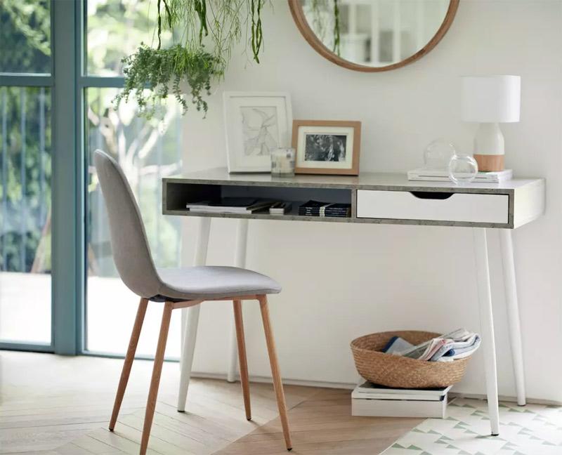grey home office desk