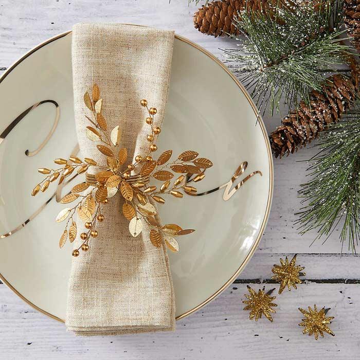 gold unusual napkin ring