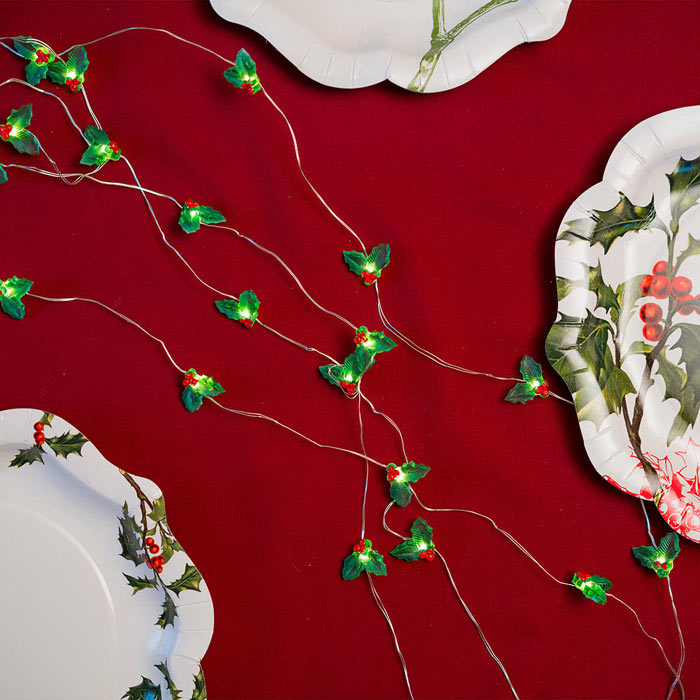 holly berry christmas table lights