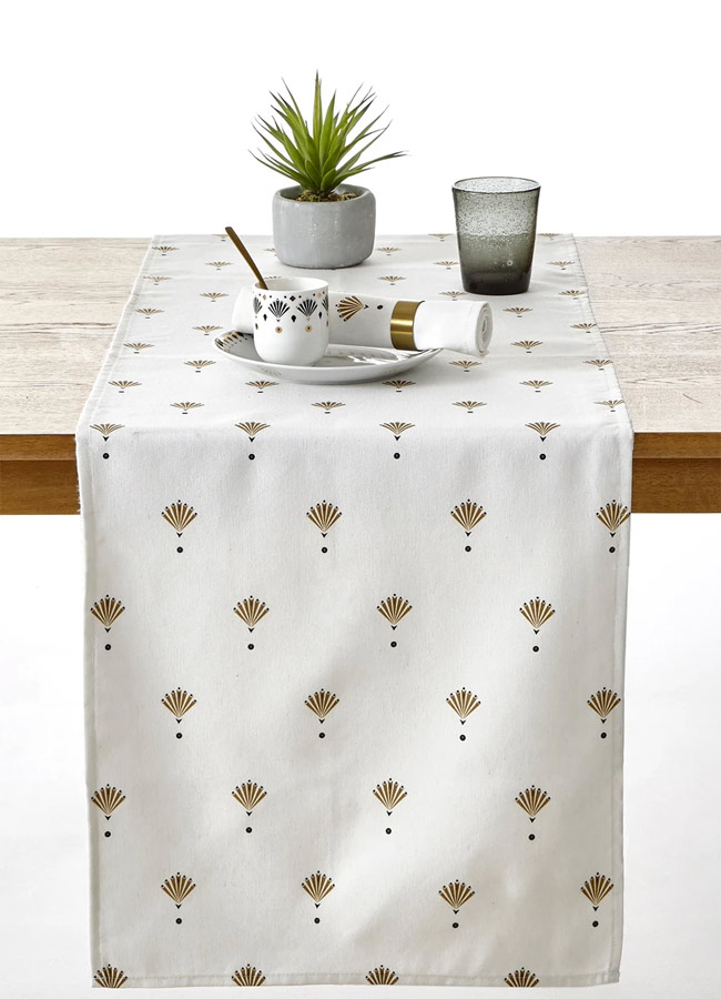 white and gold christmas table runner