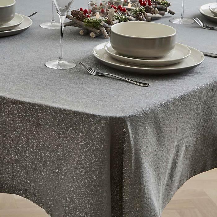 grey sparkly christmas tablecloth