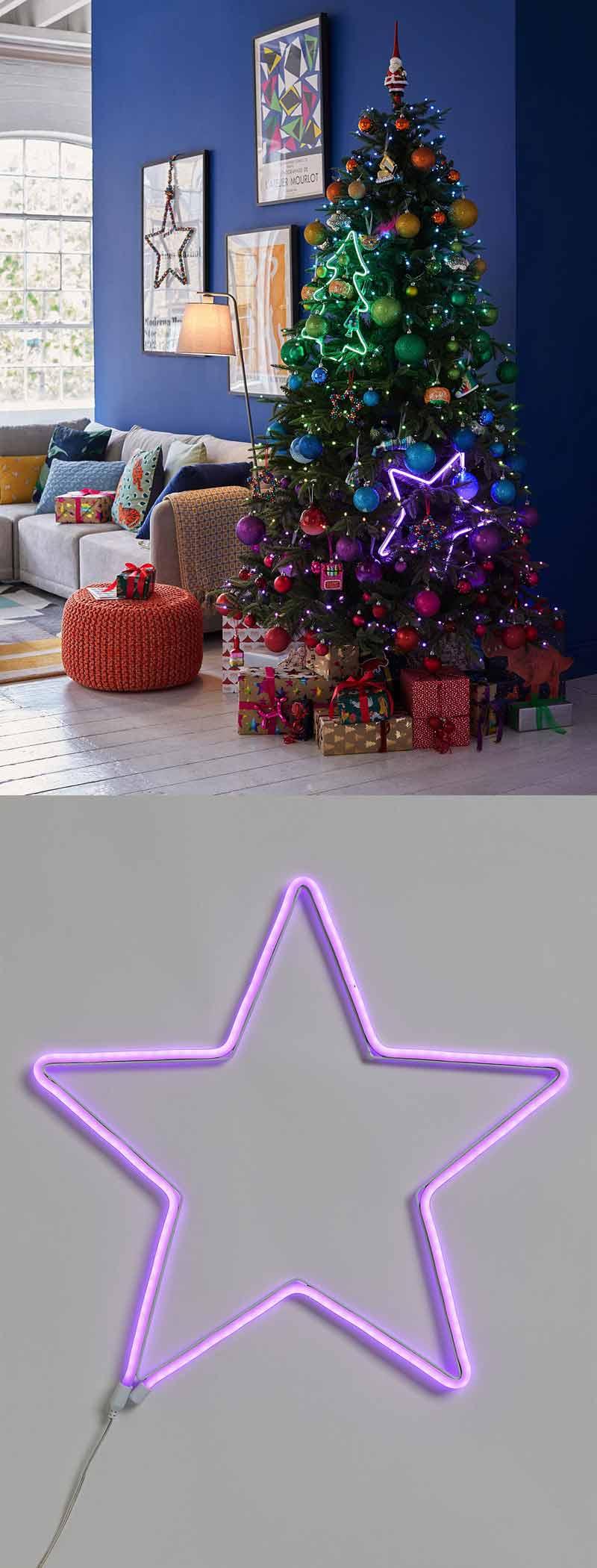 neon christmas star light