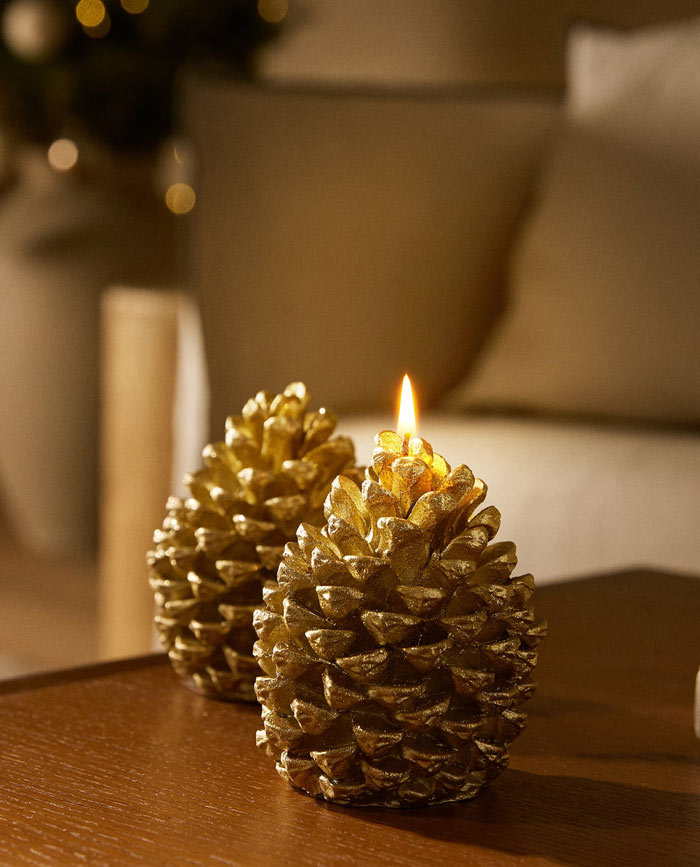 zara home candle pine cone
