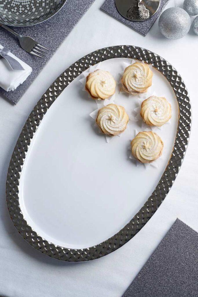 christmas serving platter silver white