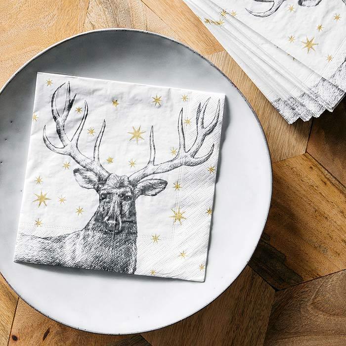 paper christmas napkins stag